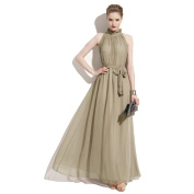 Piggy2gether- Stand Collor Plus Size Sleeveless Full-length Maxi Dress With Belt, Brown
