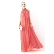 Piggy2gether- Stand Collor Plus Size Sleeveless Full-length Maxi Dress With Belt, Orange