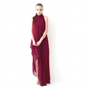 Piggy2gether- Stand Collor Plus Size Sleeveless Full-length Maxi Dress With Belt, Wine Red