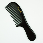Big Size Round Handle Wide Tooth Black Buffalo Horn Comb