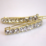 Gold Tone Metal Clear Rhinestone Hair Barrettes Clips Accessories Bridal