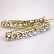 Gold Tone Metal Clear Rhinestone Hair Barrettes Clips Accessories Bridal