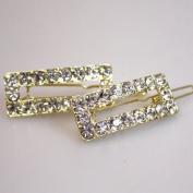 Gold Tone Metal Rhinestone Hair Barrettes Bridal Jewellery Hair Accessories
