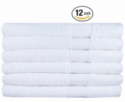 Egyptian Towels 12 Cotton Hair Towels, (50cm x 100cm ) White