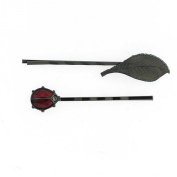 1928 Company Jet Black Leaf and Ladybug Bobby Pins