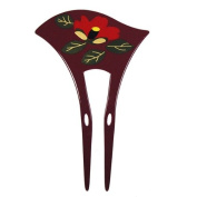 Acrylic 2-Prong Red Flowers Geisha Hair Stick Fork Burgundy
