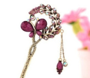 JYE Vintage Retro Style Butterfly Beaded Antique Brass Hair Stick Pin Clip w/ Tassel for Long Hair Ponytail