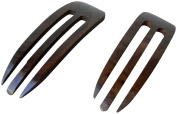 JWL (2) Rosewood Three (3) Prong Curved 11cm Hair Stick Pick Pic Pin Fork - Hawaiian Style