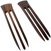 JWL (2) Rosewood Three (3) Prong 15cm Straight Hair Stick Pick Pic Pin Fork - Hawaiian Style