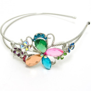 Butterfly silver tone high quality multi-colour rhinestone crystal flower butterfly headband