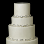 Silver White Rhinestone Satin Ribbon Wedding Cake Decorators
