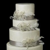 Clear Rhinestone Mesh Flower Feather Fascinator Wedding Cake Decorators