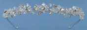 Elegant Bridal Tiara Headband of Austrian Rhinestone Accented Crystal Bead Flowers, Adorned with Rhinestone Encrusted Scrolls and Hand-wired Crystal Beads #94EH