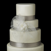 Freshwater Pearl & Rhinestone Chiffon Matte Satin Fabric Flower Wedding Cake Decorators