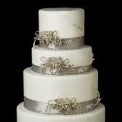 Gold Clear AB. Crystal & Rhinestone Leaf Flower Wedding Cake Decorators