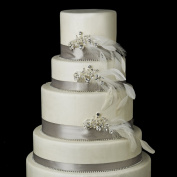 Silver Clear Multi Cut Crystal & Diamond White Pearl Feather Fascinator Wedding Cake Decorators