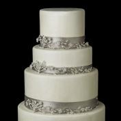 Silver Clear Rhinestone Leaf Flower Wedding Cake Decorators