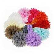 Sannysis 10PC Super Cute Babys Girls Headband Head Wear Crystal Lotus Flower Hairband