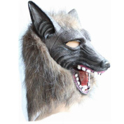 Halloween Costume Theatre Prop Wolf Head Mask Creepy Novelty Latex Fur Mane Gag