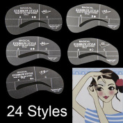 24Styles Eyebrow Grooming Stencil Kit Template Shaping Shaper DIY Tools