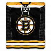 NHL Boston Bruins Jersey Royal Plush Raschel Throw Blanket, 130cm x 150cm
