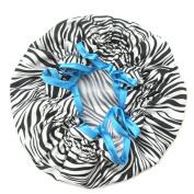 Ayygift Designer Stylish Waterproof Satin Shower Cap SPA Bath Cap Hat - Zebra Leopard
