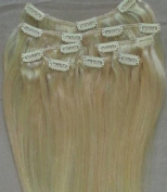 41cm 100% REMY Human Hair Extensions 7Pcs Clip in #613 Platinum Blonde