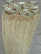 Full Head 41cm 100% REMY Human Hair Extensions 7Pcs Clip in #60 White Blonde