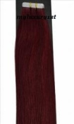 40 Pieces 50cm Seamless Remy Tape in Adhesive Hair Extensions 100g Burgundy 99j