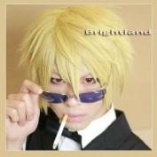 Flyingdragon Heiwajima shizuo Blonde Roxas Short Layered Golden Cosplay Wig