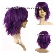 Flyingdragon Layered Flip Out Heat resist Purple Theatre Cosplay Wig