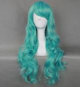 Flyingdragon Blue Green Heat Resistant Cosplay Lolita Long Curly Wig
