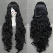 Flyingdragon Fashion Heat Resistant Black Cosplay Long Curly Wig