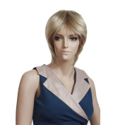 Troadzwig Blonde Ultrashort Straight Fluffy Hair Natural Wigs for Women Kanekalon Fibre Synthetic