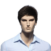 Troadzwig Brown Short Straight Hair Natural Wigs for men male Kanekalon Fibre Synthetic