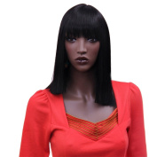 Troadzwig Long Soft Straight Black Hair Natural Full Bangs Wigs for Black Women Kanekalon Fibre Synthetic