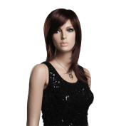 Troadzwig Red Brown Long Straight Hair Natural Oblique Bangs Wigs for Women Kanekalon Fibre Synthetic