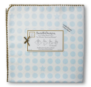 SwaddleDesigns Organic Ultimate Receiving Blanket, Prints, Pastel Blue Dots and Stars with Mocha Trim