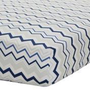 Safe Sleep Navy & Grey Chevron Fitted Sheet