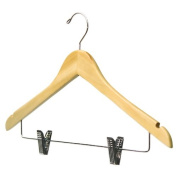 Blonde Wood Suit Hanger with Clips - Set of 5 by Richard's Homewares