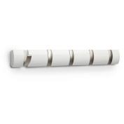 Umbra Flip 5-Hook Wall-Mount Rack/Rail, White/Nickel