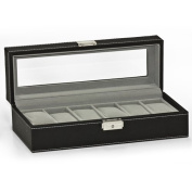 Watch Box 6 Mens Black Leather Display Glass Top Jewellery Case Organiser