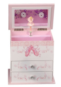 Angel Girl's Wooden Musical Ballerina Jewellery Box with Fashion Paper Overlay
