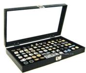 Glass Top Black Cufflinks Jewellery Showcase Storage Organiser Display Case Box