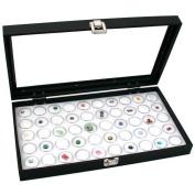 Glass Top Jewellery Display Case Box White 50 Gem Jars