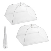 Set of 2 Large Pop-Up Mesh Screen Food Cover Tents - Keep Out Flies, Bugs, Mosquitos - Reusable - Colours May Vary