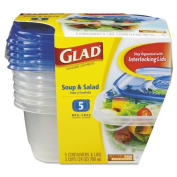 GladWare Plastic Soup and Salad Containers with Lids, 710ml, Clear/Blue, 5/Pack