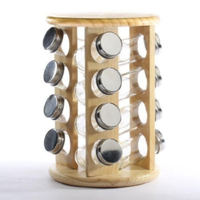 swivel style light wood spice rack with 16 spice jars for home decor storage