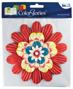 Handmade Paper Stacked Flowers Red