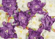Dimensional Paper Flowers Dark Purple/White